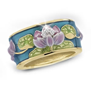 The Concorde Collection Jeweled Water Lilies Ring